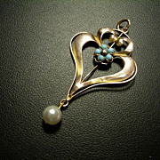 Lg. Art Nouveau 9ct Rose Gold, Turquoise and Pearl Pendant