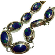 Azurite and Sterling Silver Mexican Bracelet