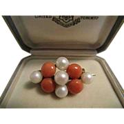 Late Victorian Coral and Cultured Pearl Brooch