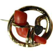 Victorian 14K Wrapped Coral Brooch