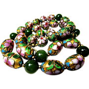 Superb  Chinese Jade and Cloisonne Necklace