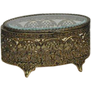 Gold Plated and Glass Jewelry Casket
