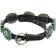 Vintage Faux Turquoise Leather Belt