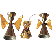 Three Vintage Brass Candles