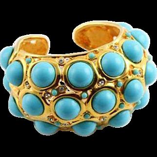 REDUCED SALE  Spectacular KJL Faux Turquoise Cabochon Bracelet
