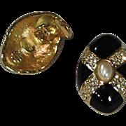 Kenneth Jay Lane Black Enamel & Gold Earrings