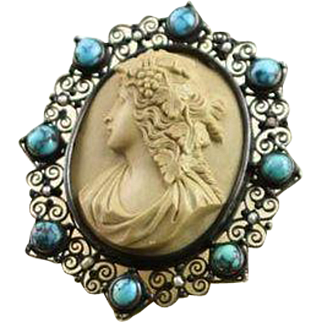 SALE   Antique Hand Carved Lava Cameo Set in Sterling W//Turquoise & Pearls