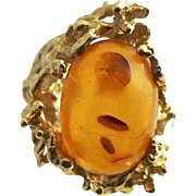 Free Form Artisan Designed And Constructed 14K Natural Amber Ring