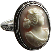 Vintage Estate Find Sterling And Angel Skin Coral Carved Cameo Ring