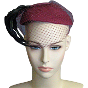 1940's Red and Black Fascinaator Hat