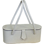 Vintage 1960's Bucket Style Bag, White Metal Mesh Purse