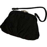 Vintage Party Black Silk Purse With Brass Clasp