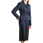 1950's Black Wool Two Piece Suit