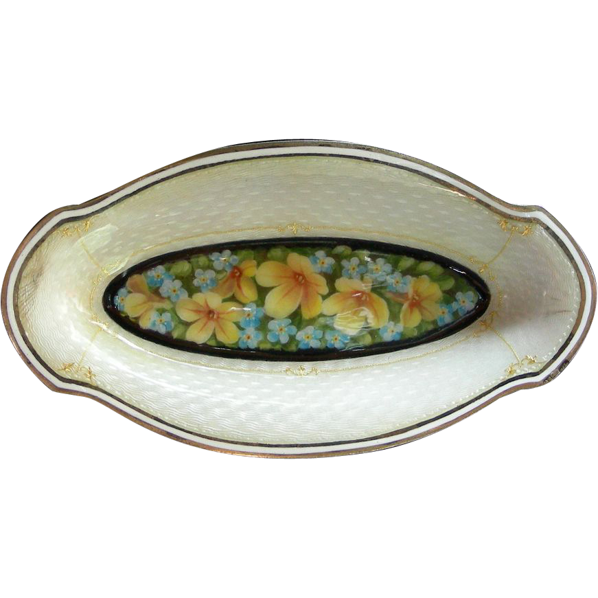 A Sterling Silver Guilloche & Floral Enamel Small Nut Dish