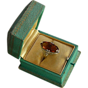 SOLD A 14K Filigree Gem Madera Citrine Ring In Two Color Gold Circa 1925