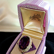 SOLD An Exquisite 14K 1920s Multicolor Gold Seed Pearls Large Amethyst Ring