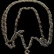 A Long Silver Enamel Niello Necklace Chain