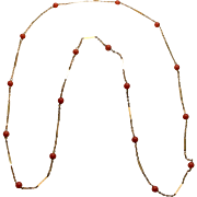 SOLD A 14K Gold Link & Coral Bead Necklace Chain