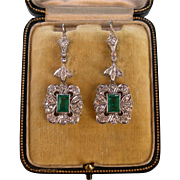 SOLD A 1940s Pair Of 14K Emerald & Diamond Earrings