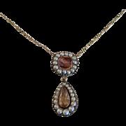 A 14K Georgian Precious Topaz & Pearl Necklace