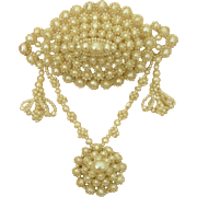 A Georgian Natural Pearl Brooch With Festoon Drops