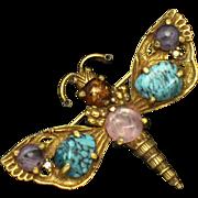 MAXIM France French Gemstone Figural Dragonfly Brooch
