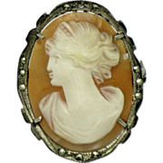 SALE ART DECO 800 Silver Marcasite Antique Carved Shell  Cameo Brooch