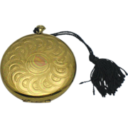 SALE ZELL FIFTH AVENUE Retro Brass Pocket Watch Style Compact
