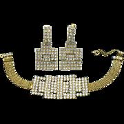SALE HOBE Gold Plated Mesh Rhinestone Bracelet Earring Set