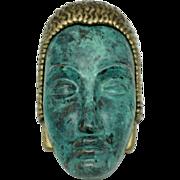 ART DECO 89 Very RARE Aqua Enamel Brass Face Brooch