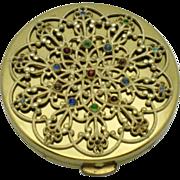SALE HAMPDEN England Vintage Gold Plated Rhinestone Filigree Compact