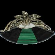 SALE Art Deco Sterling 925 Marcasite Onyx Malachite Mother of Pearl Fan Brooch Hallmarked
