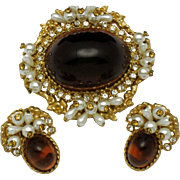 SALE ALICE CAVINESS Ornate Honey Amber Lucite Cabochon Pearl Rhinestone Brooch and Earring SET