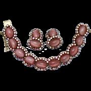 SALE SCHOFFEL & CO Austria Pink Moonstone Rhinestone Bracelet & Earrings Set Circa 195