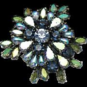 SCHIAPARELLI Blue Green  Aurora Borealis Crystal Rhinestone Dimensional Brooch