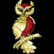 CROWN TRIFARI  Brooch Figural Owl Enamel Gold Plated Pin