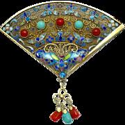 Art Deco Silver Chinese Export  Cloisonne Enamel Butterfly Fan Brooch BK PC