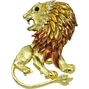 GRAZIANO Vintage French Enamel Rhinestone Large Figural Lion Brooch