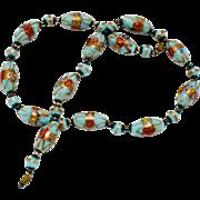 ART DECO Venetian Murano Art Glass Italian Wedding Cake Blue Pink Bead Necklace