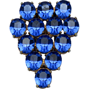 SALE ART DECO Style Open Back Unfoiled  Blue Glass Rhinestone Dress Clip Pin