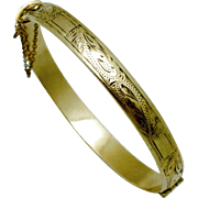 SOLD ART DECO Henry Griffith & Sons Birmingham England Rolled Gold Chased Bangle Bracelet