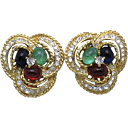 SALE CINER  Moghul Emerald Green, Sapphire Blue, Ruby Red Cabochon Rhinestone Earrings