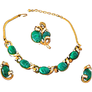 TRIFARI  Cabochon Rhinestone Necklace Brooch & Earrings Parure