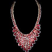 SALE Vintage 1950s  Ruby Red Rhinestone Fringe Bib Necklace