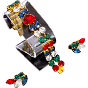 1950s Bracelet Earrings Set Ruby Red, Emerald Green,  Sapphire Blue  Rhinestone