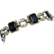 SOLD TRIFARI Art Deco Late 1930s Sapphire Glass and Paste Link Bracelet Philippe