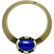 CINER Omega Necklace Faux Lapis Diamond Wide Gold Plated Flexible