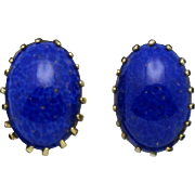 SALE Signed SCHREINER Lapis  Cabochon Clip Earrings