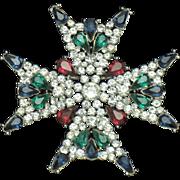 TRIFARI Philippe Rhinestone Figural Maltese Cross Brooch