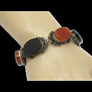 800 Silver Filigree Black Onyx Carnelian Agate Bracelet